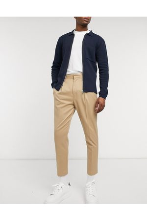 ASOS Elegante tapered bukser i stenfarve-Stenfarvet