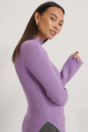 NA-KD Side Slit Ribbed Knitted Sweater