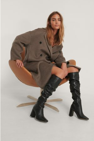 NA-KD Knee High Leather Boots