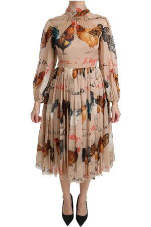 Dolce & Gabbana Kvinder Bodycon kjoler - Print Sheath Midi Silk Dress