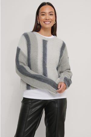 NA-KD Kvinder Strik - Brushed Knitted Striped Sweater