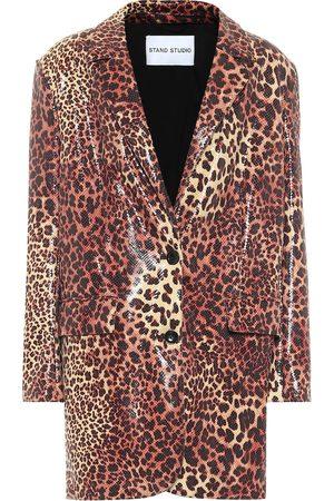 Stand Studio Kvinder Blazere - Juniper leopard-print faux leather blazer