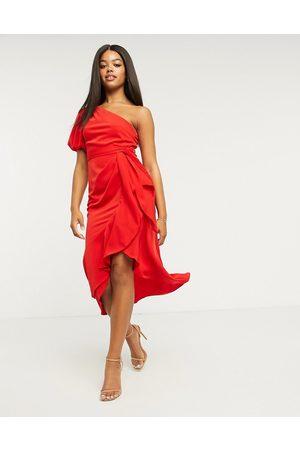 Lipsy London Midi slå om-kjole med flæser og kun én skulder