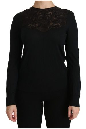 Dolce & Gabbana Silk Lace Crew Neck Long Sleeve Blouse
