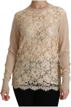 Dolce & Gabbana Lace Long Sleeve Top Cashmere Blouse