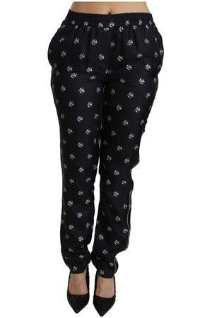 Dolce & Gabbana Printed Mid Waist Skinny Silk Pants