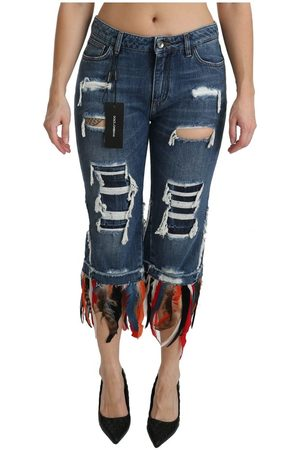 Dolce & Gabbana Feathers Low Waist Cropped Cotton Jeans