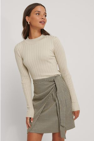 NA-KD Kvinder Strik - Ribbed High Neck Knitted Sweater