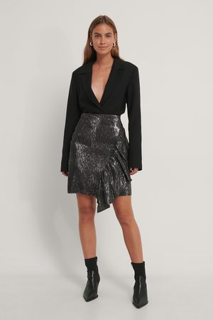 NA-KD Frill Glittery Skirt