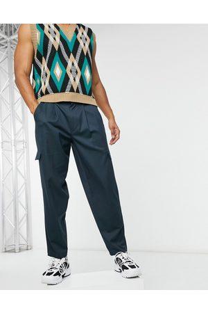 ASOS Marineblå oversized tapered elegante bukser med cargo-lommer