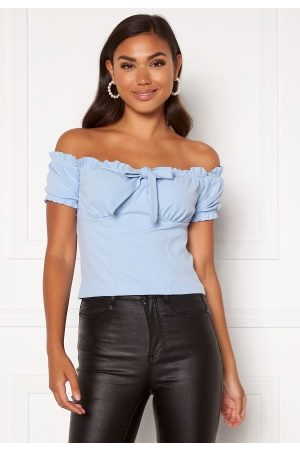 BUBBLEROOM Jenna off shoulder top Dusty blue XS