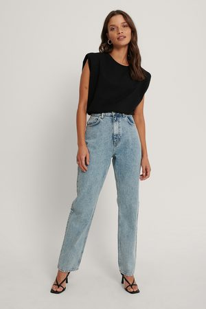 NA-KD Organic Fold Up Straight High Waist Jeans