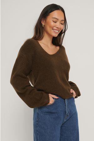 NA-KD Kvinder Strik - Asymmetric Neckline Knitted Sweater