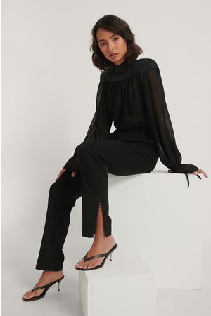 NA-KD Kvinder Trekvartbukser - Lace Detail Suit Pants