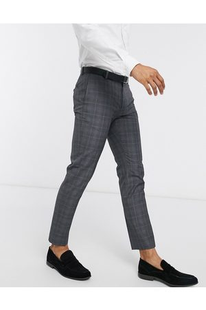 Burton — Grå og blåternede bukser med smal pasform