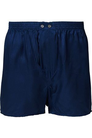 DEREK ROSE Classic Fit Silk Boxer Shorts Navy