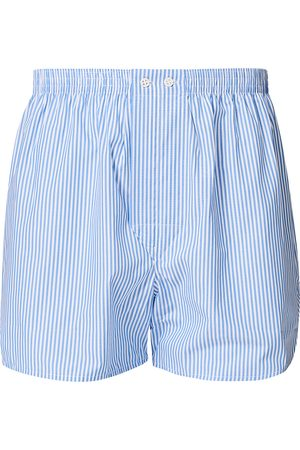 DEREK ROSE Classic Fit Cotton Boxer Shorts Blue Stripe