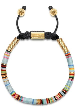 Nialaya Mænd Armbånd - Beaded Bracelet with Light Blue Disc Beads and Gold