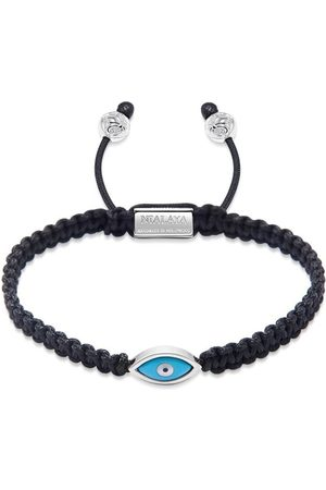 Nialaya Men's Black String Bracelet with Silver Evil Eye