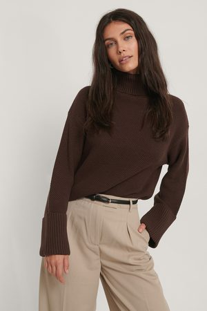 NA-KD Kvinder Strik - Folded High Neck Knitted Sweater