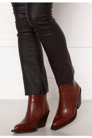 Pieces Kvinder Støvler - Jean Leather Boot Cognac 39