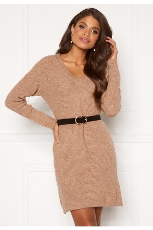 Pieces Ellen V-neck Knit Dress Natural XS