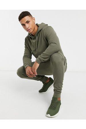 ASOS Khakifarvet træningssæt med hættetrøje & skinny cargo-joggingbukser-Grøn