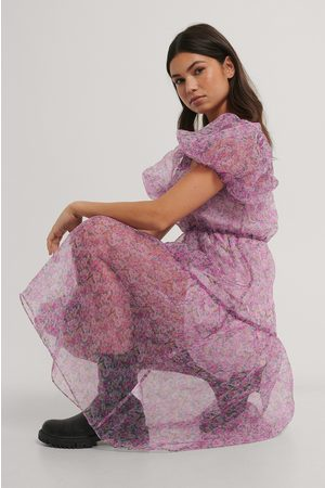 NA-KD Flowy Printed Organza Dress