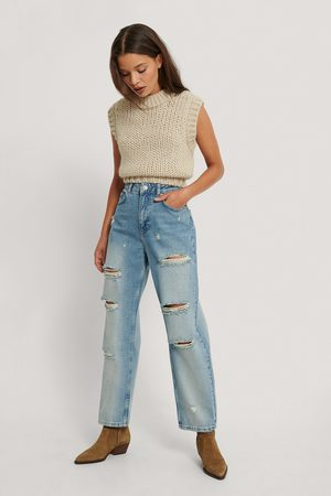 NA-KD Kvinder High waist - Destroyed High Waist Cropped Jeans