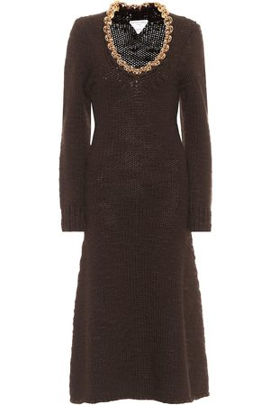Bottega Veneta Chain-trimmed wool-blend midi dress