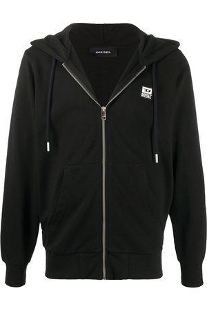 Diesel Zip-up logo patch hoodie