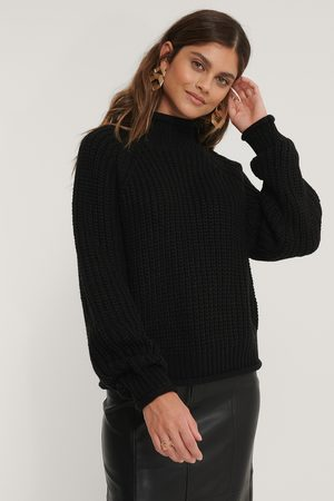 NA-KD Raglan Sleeve High Neck Knitted Sweater