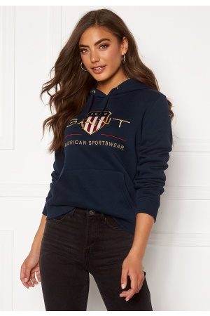 GANT Kvinder Sweatshirts - Archive Shield Sweat Hoodie 433 Evening Blue M