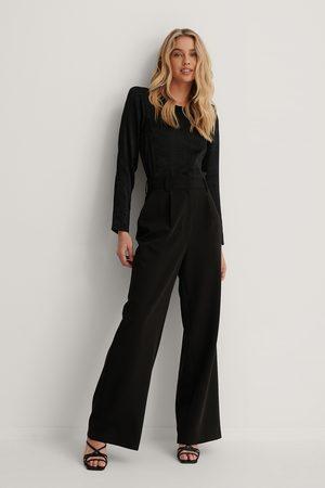Lizzy x NA-KD Kvinder Kassebukser - Highwaisted Flared Suit Pants