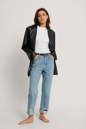 NA-KD Kvinder High waist - Ripped Hem Straight High Waist Jeans