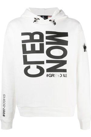 Moncler Mænd Strik - Logo print rib-trimmed hoodie