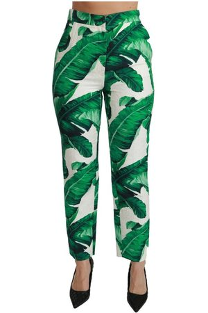 Dolce & Gabbana Banana Leaf High Waist Slim Trousers
