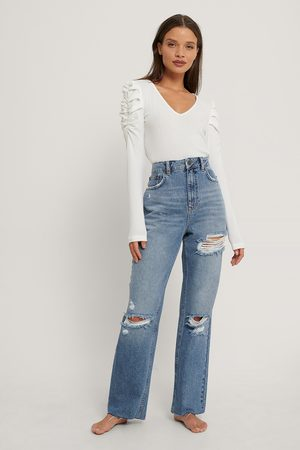 NA-KD Kvinder High waist - Destroyed Detail High Waist Straight Jeans