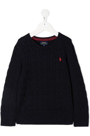 Ralph Lauren Drenge Strik - Langærmet trøje i bomuld med broderet logo