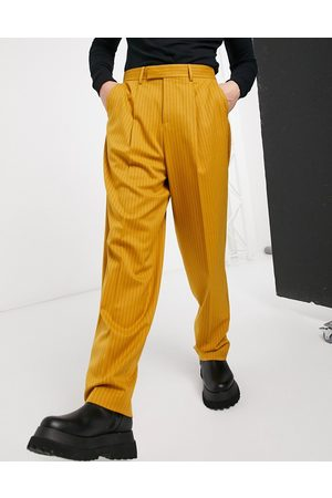 ASOS Smarte, højtaljede bukser i sennepsfarvede striber og slim pasform-Orange