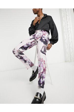 Twisted Tailor Smalle habitbukser af hør i støvet med blomsterprint