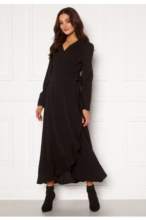 John Zack Kvinder Casual kjoler - Long Sleeve Wrap Frill Maxi Dress Black S (UK10)