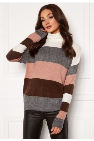 JACQUELINE DE YONG Kvinder Strik - Elanora L/S Stripe Rollneck Knit Woodrose/ Stripes S