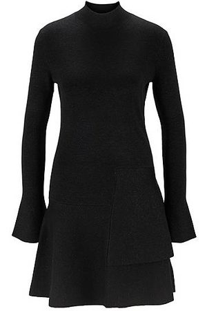 HUGO BOSS Fit-and-flare knitted dress in a sparkly wool blend