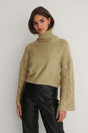 NA-KD Wide Sleeve High Neck Knitted Sweater