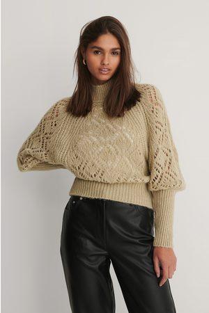 NA-KD Kvinder Strik - Raglan Sleeve Pointelle Stitch Knitted Sweater