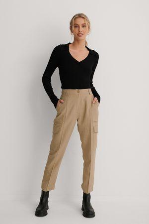 NA-KD Fluid Linen-Blend Cargo Pants