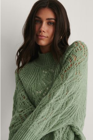 NA-KD Raglan Sleeve Pointelle Stitch Knitted Sweater