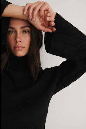 NA-KD Kvinder Strik - Wide Sleeve High Neck Knitted Sweater