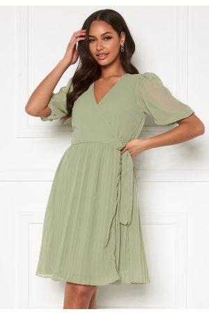 BUBBLEROOM Kvinder Midikjoler - Sinja puff sleeve dress Dusty green 40